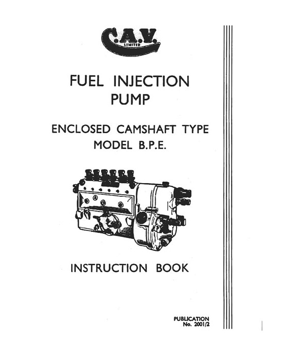 BPE Injection Pump Workshop Manual